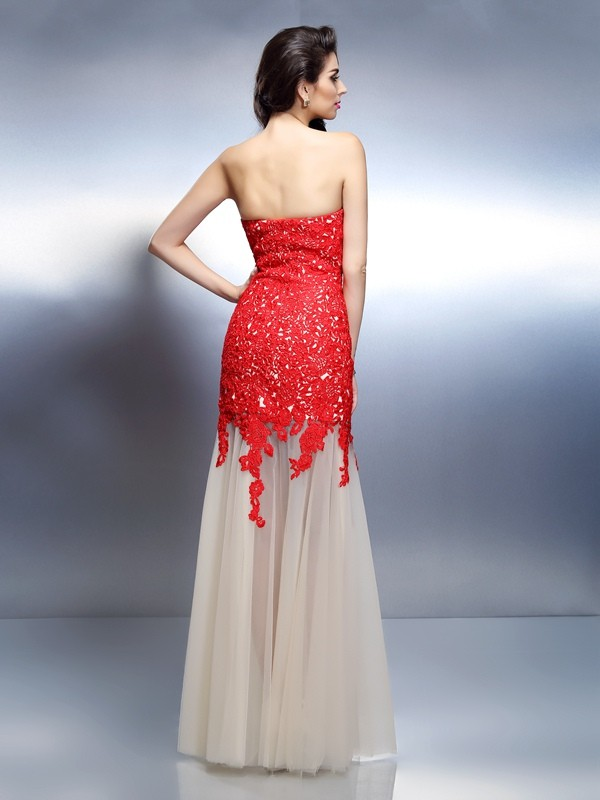 Exquisite A-Line Sweetheart Sleeveless Long Net Dress