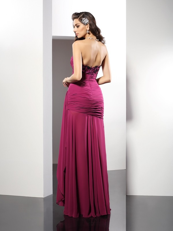 Exquisite Sheath Strapless Sleeveless Long Chiffon Dress