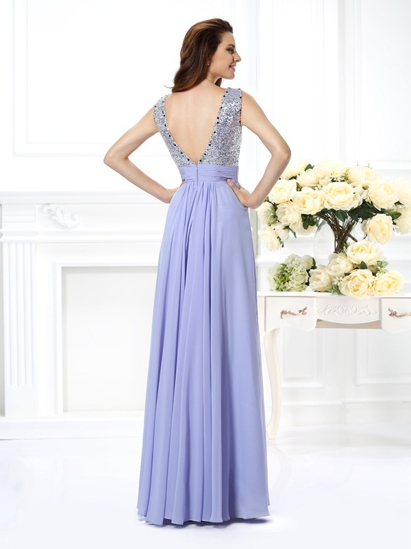 Exquisite A-Line Bateau Lace Sleeveless Long Chiffon Dress