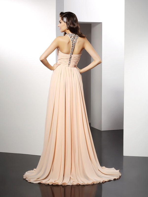 Exquisite A-Line Jewel Sleeveless Long Chiffon Dress