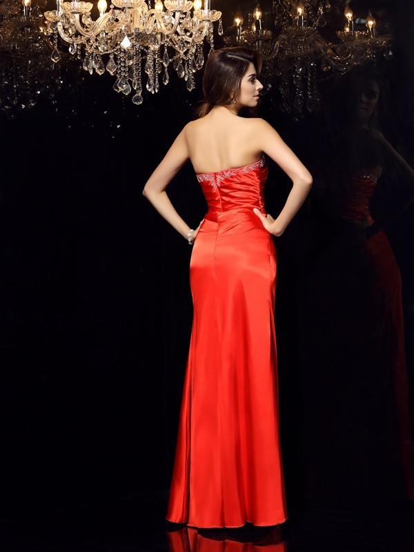 Exquisite Sheath Sweetheart Sleeveless Long Elastic Woven Satin Dress