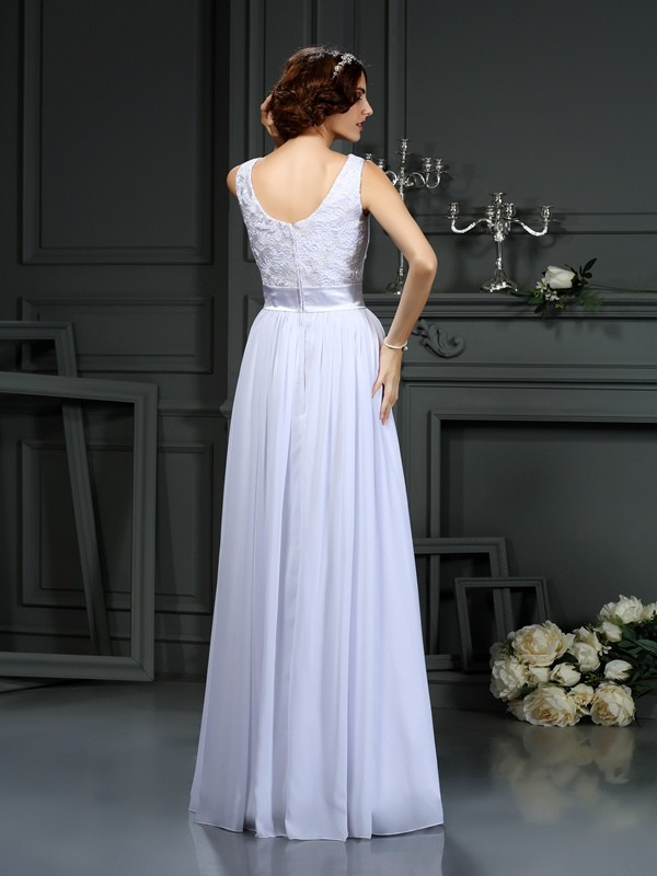 Exquisite A-Line Scoop Lace Sleeveless Long Chiffon Wedding Dress