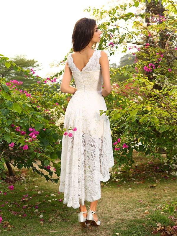 Exquisite A-Line V-neck Lace Sleeveless High Low Lace Bridesmaid Dress