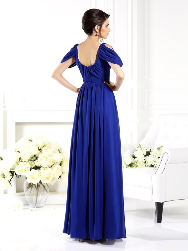 Charming A-Line Scoop Sleeveless Long Chiffon Mother of the Bride Dress