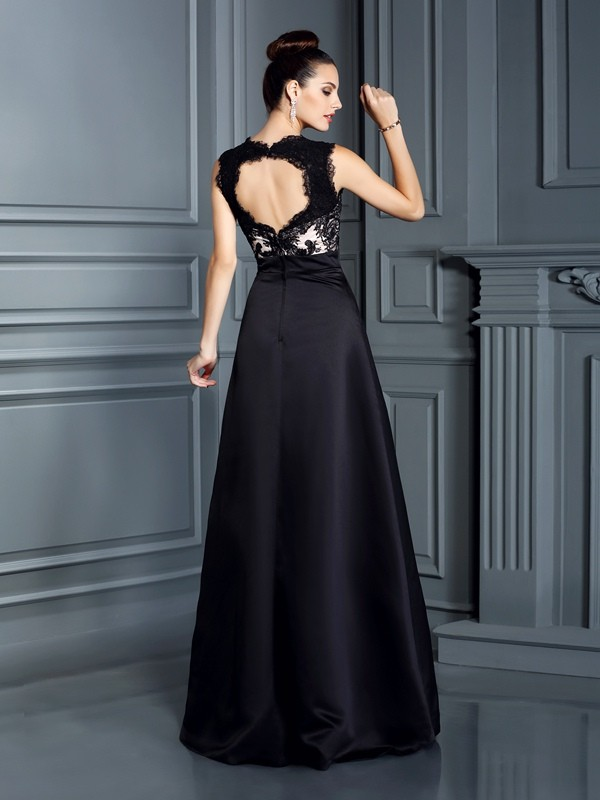 Charming A-Line Straps Lace Sleeveless Long Satin Dress