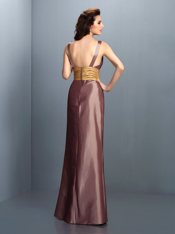 Charming Sheath V-neck Sleeveless Long Taffeta Dress
