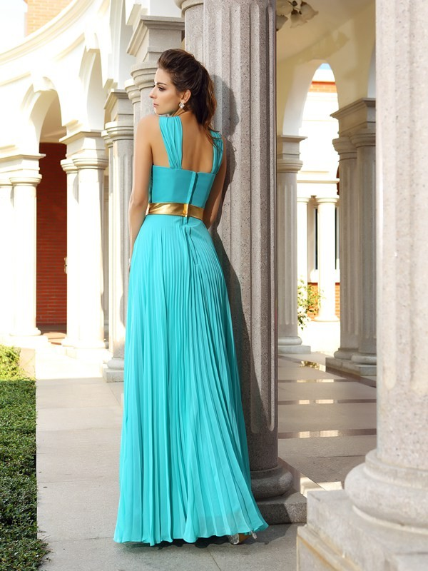 Charming A-Line Sleeveless Long Chiffon Dress