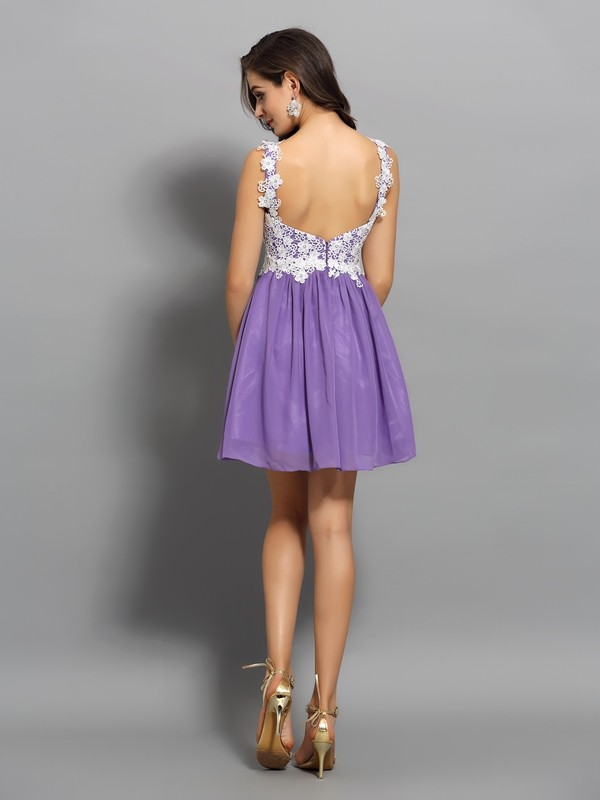 Charming A-Line Straps Sleeveless Short Chiffon Cocktail Dress