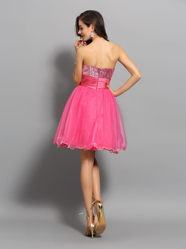 Classical A-Line Sweetheart Sleeveless Short Net Cocktail Dress