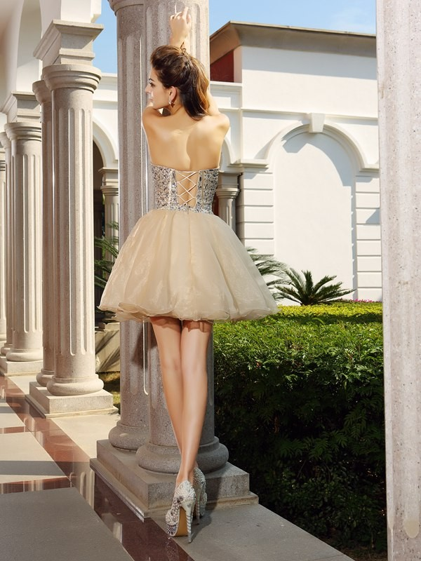 Classical A-Line Sweetheart Sleeveless Short Organza Cocktail Dress