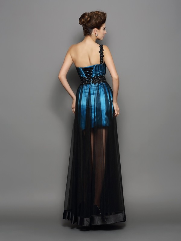 Classical A-Line One-Shoulder Sleeveless Long Elastic Woven Satin Dress