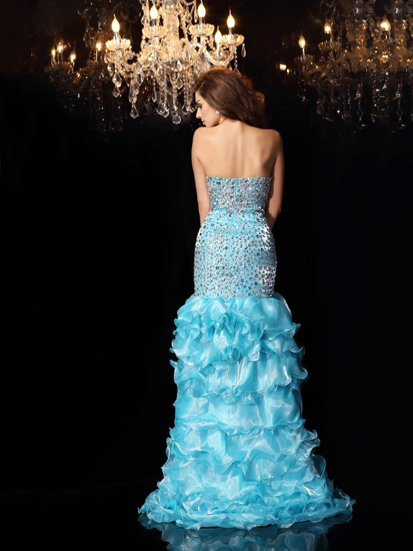 Classical Mermaid Sweetheart Sleeveless High Low Organza Dress