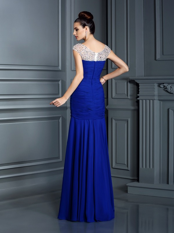 Classical Mermaid Scoop Sleeveless Long Chiffon Dress
