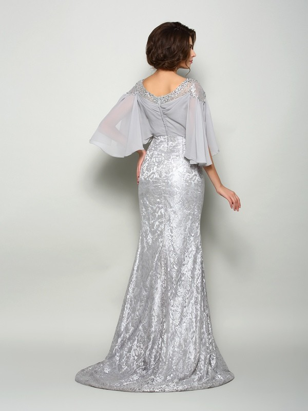 Classical Mermaid Scoop Lace 1/2 Sleeves Long Chiffon Mother of the Bride Dress