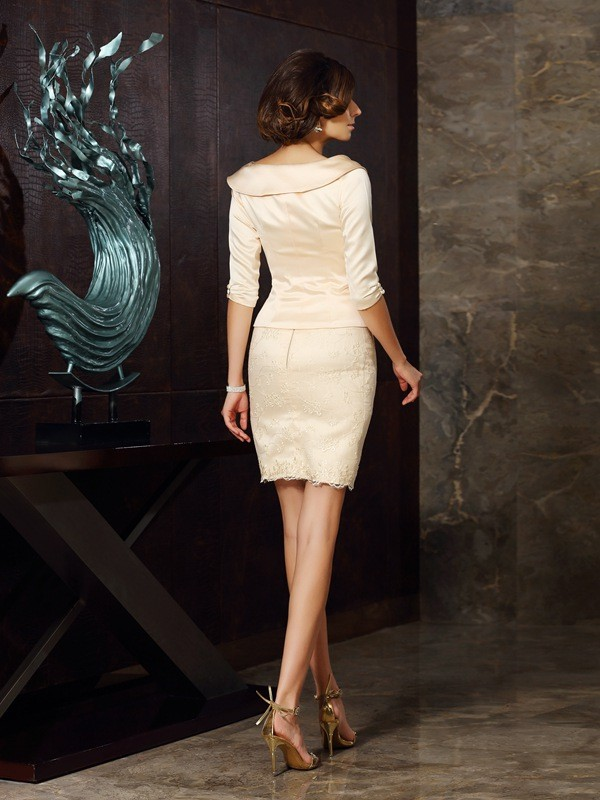 Classical Sheath Strapless Sleeveless Short Satin Mother of the Bride Dress