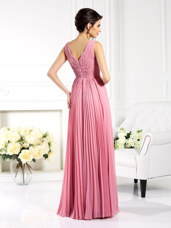 Classical A-Line Sweetheart Sleeveless Long Chiffon Mother of the Bride Dress