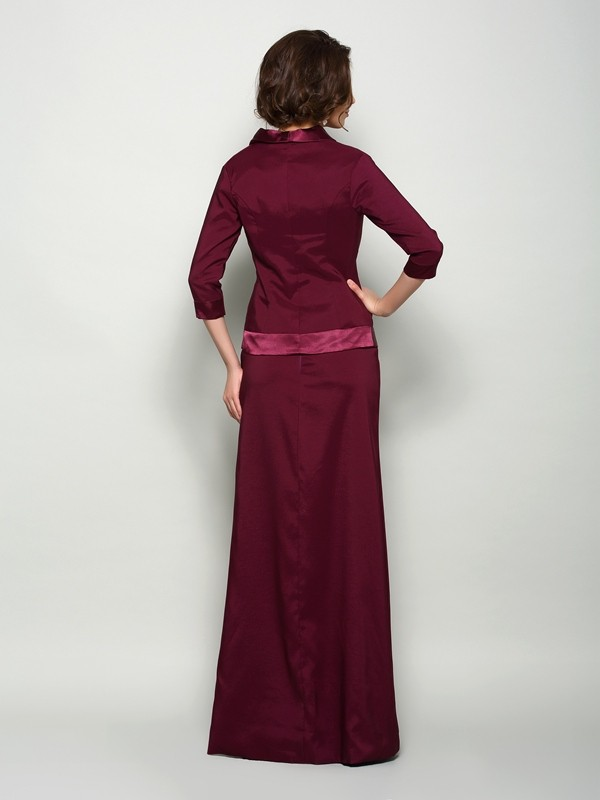 Fancy A-Line Square Sleeveless Long Elastic Woven Satin Mother of the Bride Dress