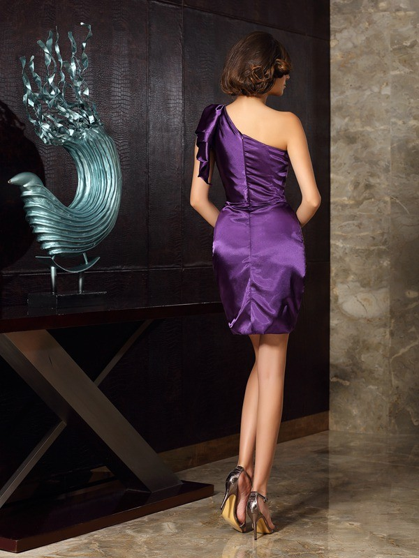 Gorgeous Sheath One-Shoulder Sleeveless Short Elastic Woven Satin Mother of the Bride Dress