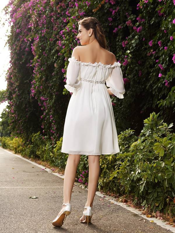 Gorgeous A-Line Off-the-Shoulder 1/2 Sleeves Short Chiffon Wedding Dress
