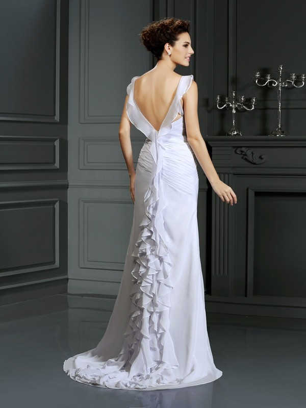 Gorgeous Mermaid Straps Sleeveless Long Chiffon Wedding Dress