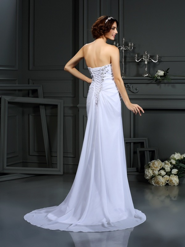 Gorgeous Sheath Sweetheart Sleeveless Long Chiffon Wedding Dress