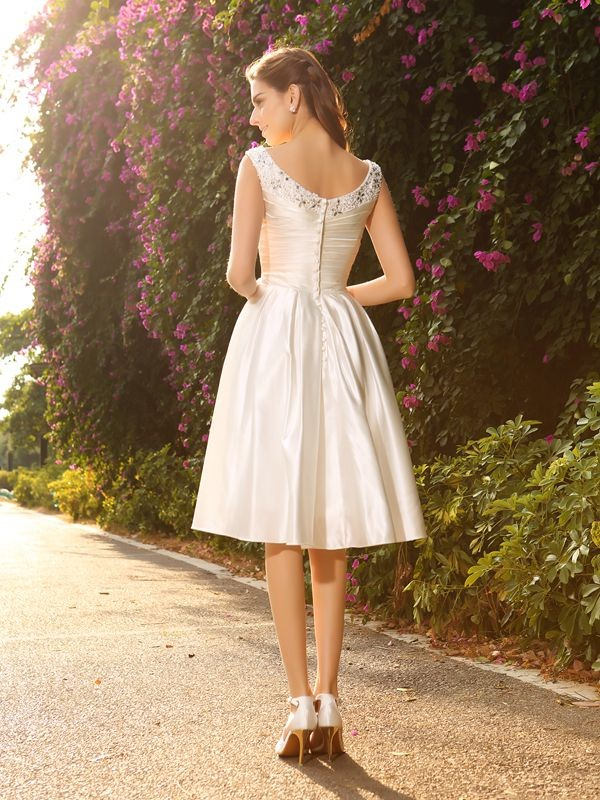 Gorgeous A-Line V-neck Sleeveless Short Satin Wedding Dress