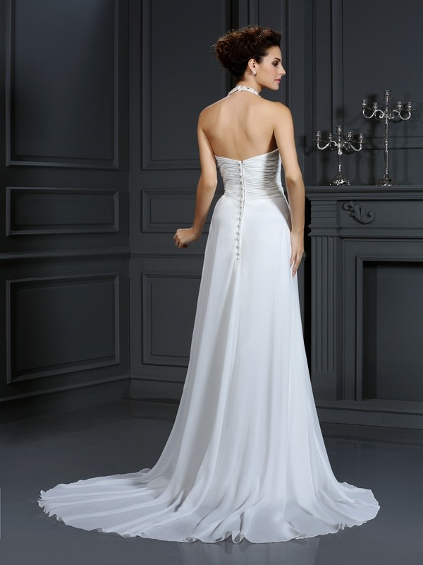 Gorgeous A-Line Halter Sleeveless Long Chiffon Wedding Dress