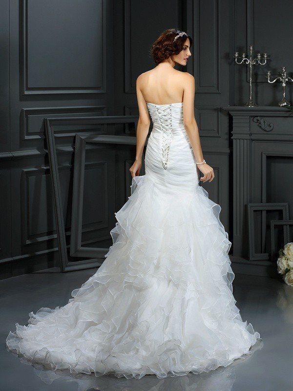 Gorgeous Mermaid Sweetheart Sleeveless Long Organza Wedding Dress