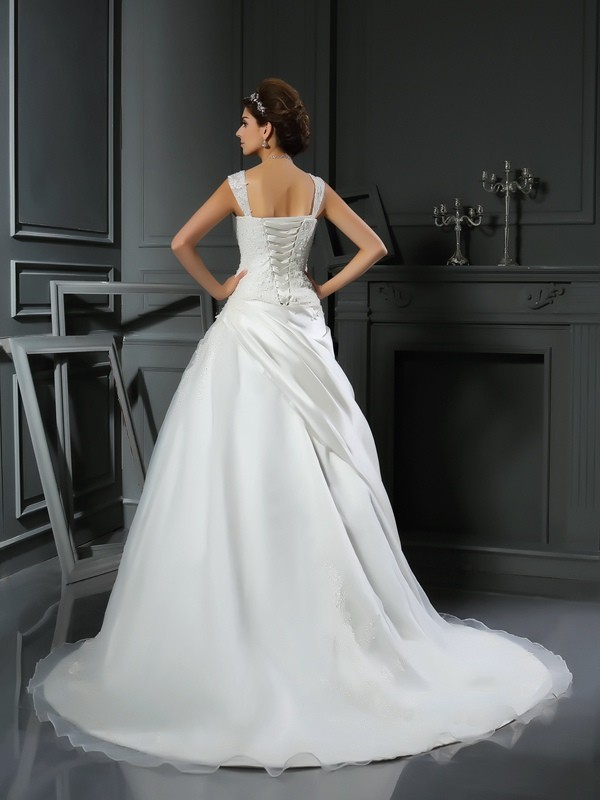 Gorgeous Ball Gown Straps Sleeveless Long Satin Wedding Dress