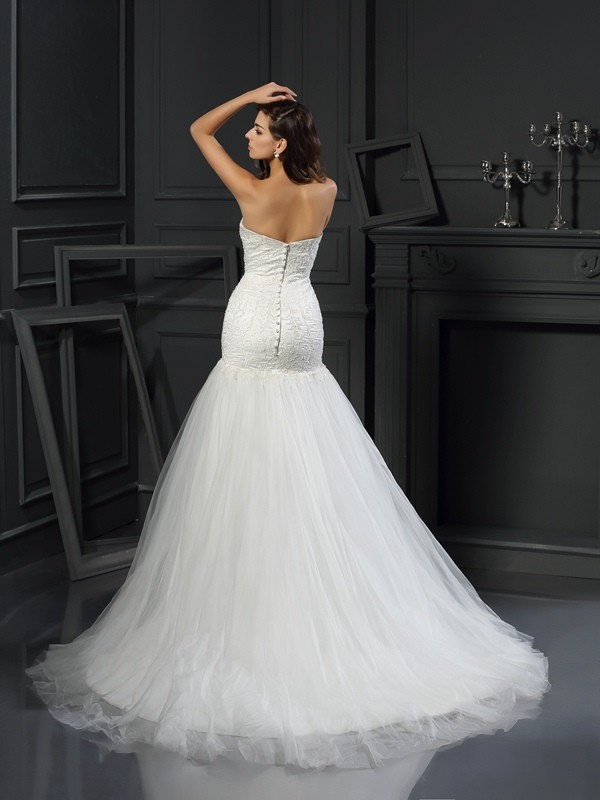Gorgeous Mermaid Sweetheart Sleeveless Long Tulle Wedding Dress