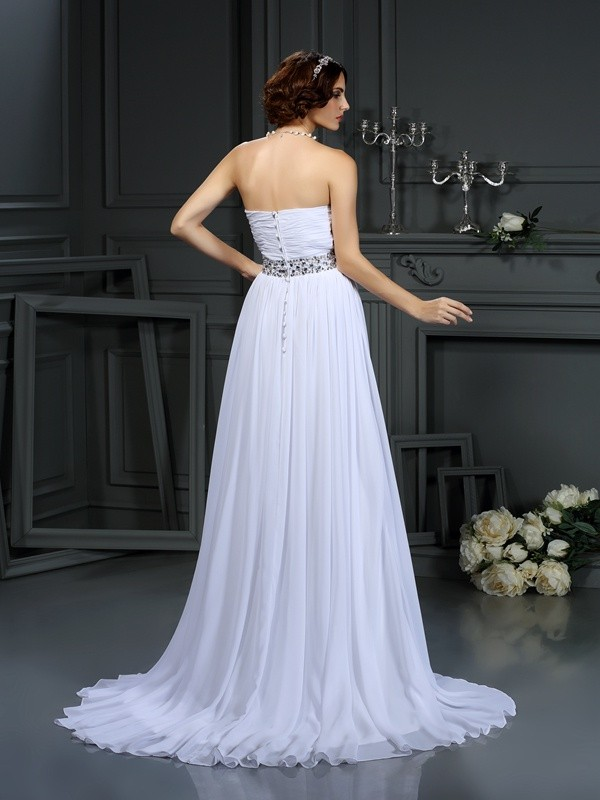 Gorgeous A-Line Sweetheart Sleeveless Long Chiffon Wedding Dress
