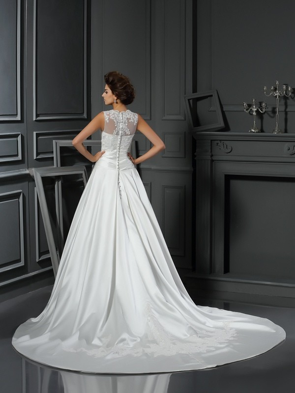 Gorgeous A-Line High Neck Sleeveless Long Satin Wedding Dress