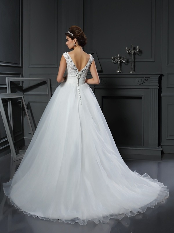 Gorgeous A-Line V-neck Sleeveless Long Organza Wedding Dress