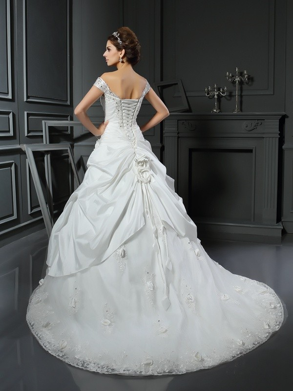 Gorgeous Ball Gown Off-the-Shoulder Sleeveless Long Satin Wedding Dress