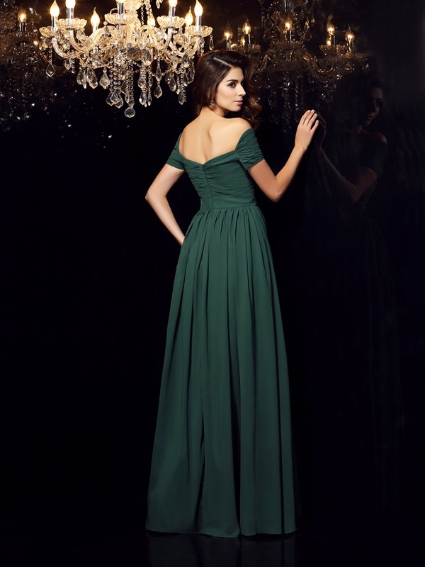 Unique A-Line Off-the-Shoulder Sleeveless Long Chiffon Dress