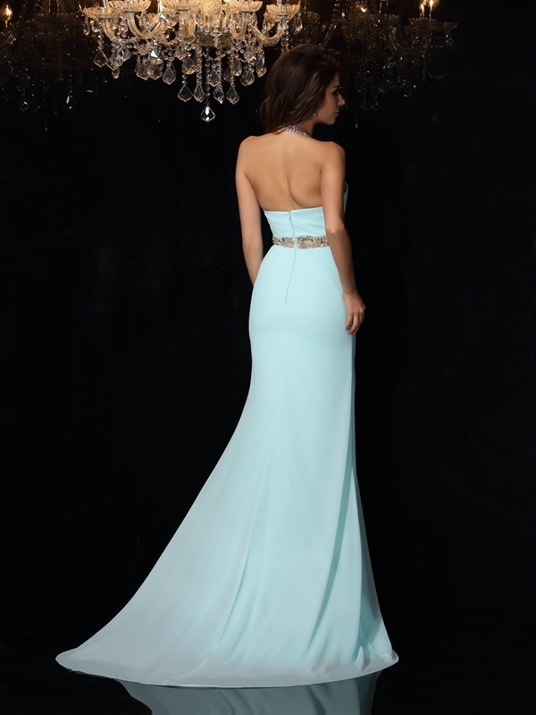 Unique Sheath High Neck Sleeveless Long Chiffon Dress