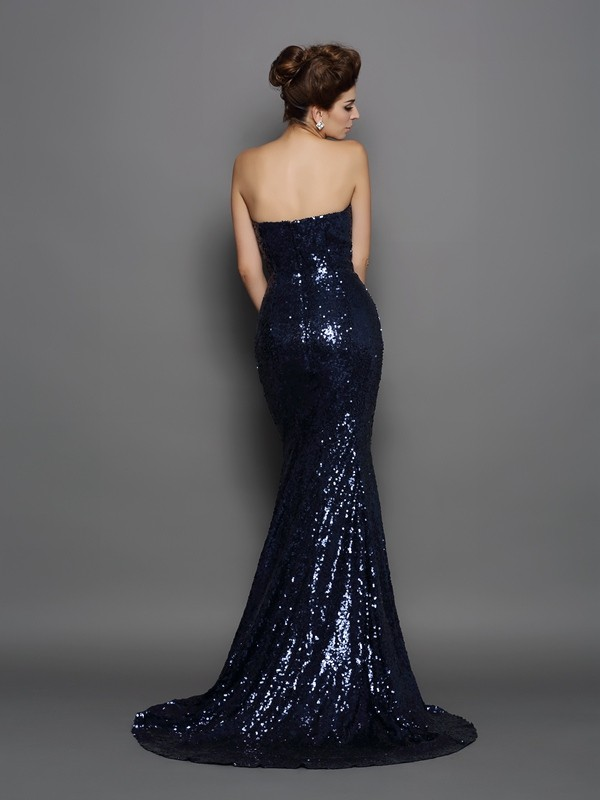 Unique Mermaid Sweetheart Sequin Sleeveless Long Sequins Dress