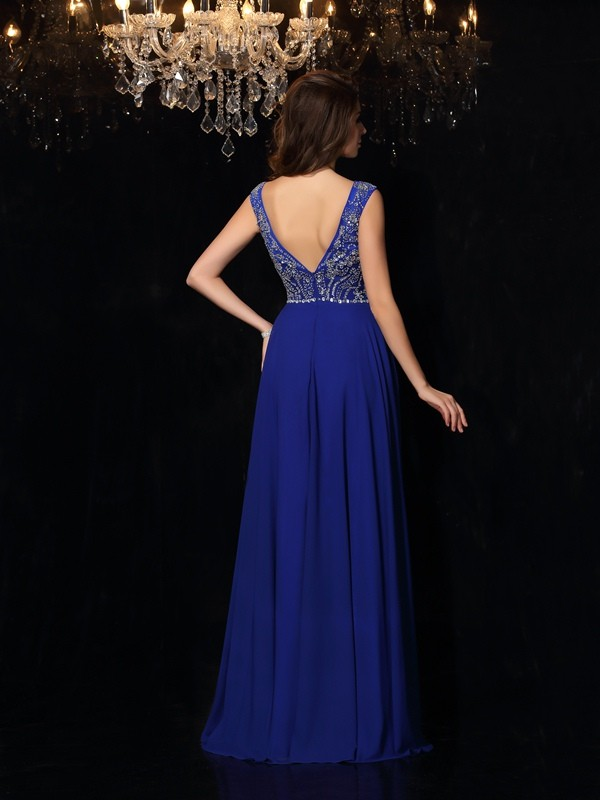 Unique A-Line Scoop Sleeveless Long Chiffon Dress