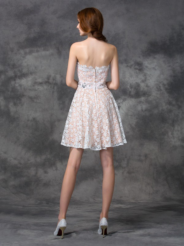 Unique A-Line Sweetheart Lace Sleeveless Short Lace Cocktail Dress