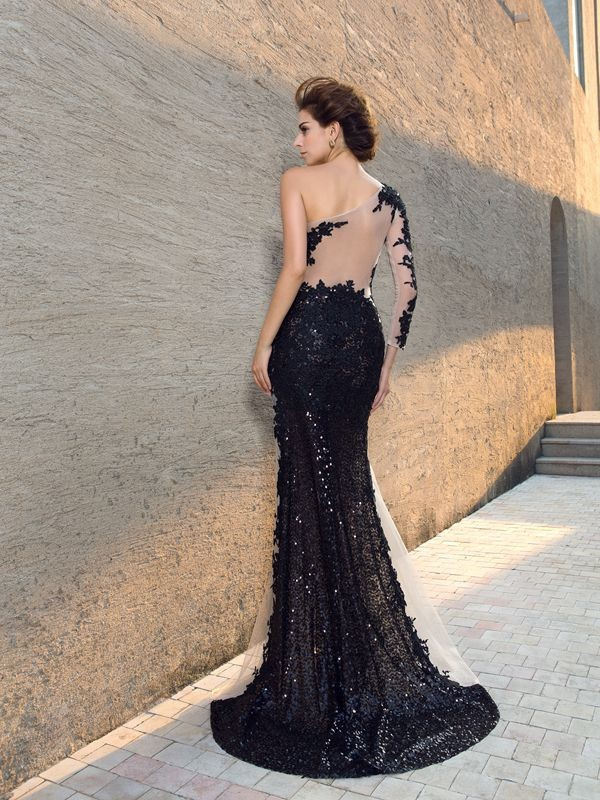 Unique Sheath One-Shoulder Sequin Long Sleeves Long Lace Dress
