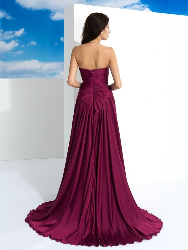 Nice A-Line Strapless Sleeveless Long Satin Chiffon Dress