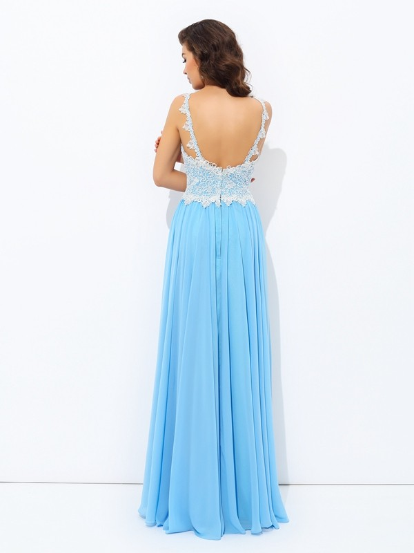 Nice A-Line V-neck Lace Sleeveless Long Chiffon Dress