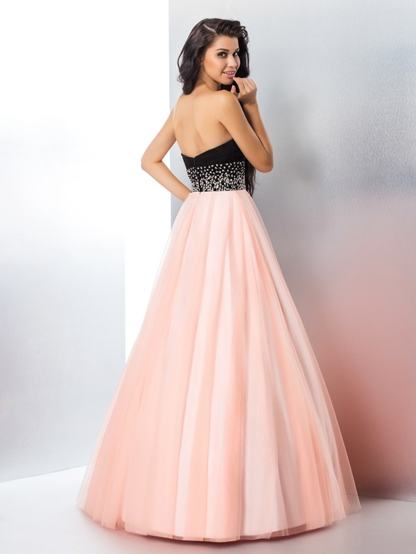 Nice Ball Gown Sweetheart Sleeveless Long Satin Quinceanera Dress