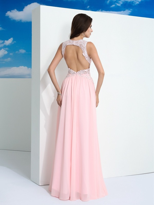 Nice A-Line Straps Sleeveless Long Chiffon Dress