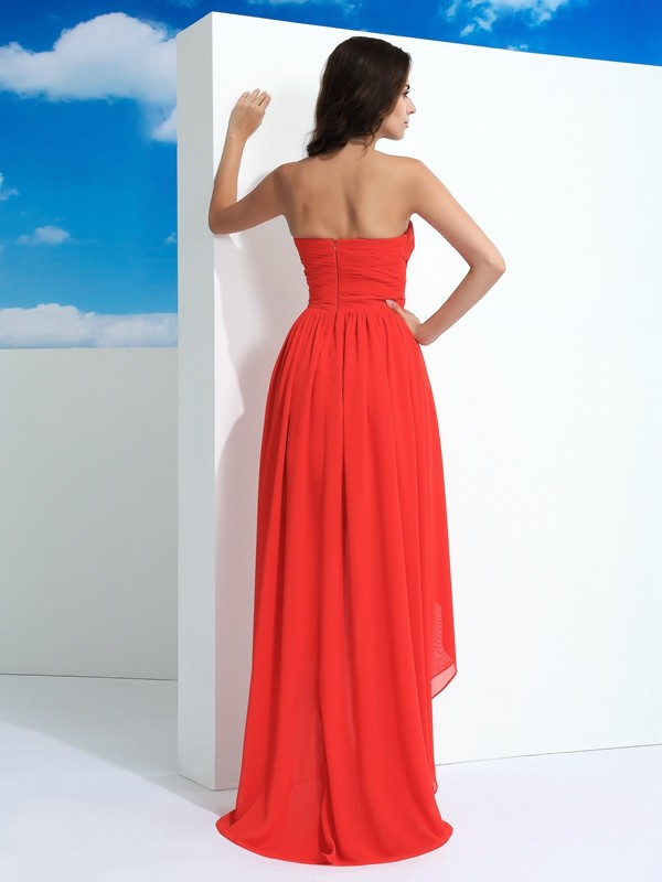 Nice A-Line Sweetheart Sleeveless High Low Chiffon Dress
