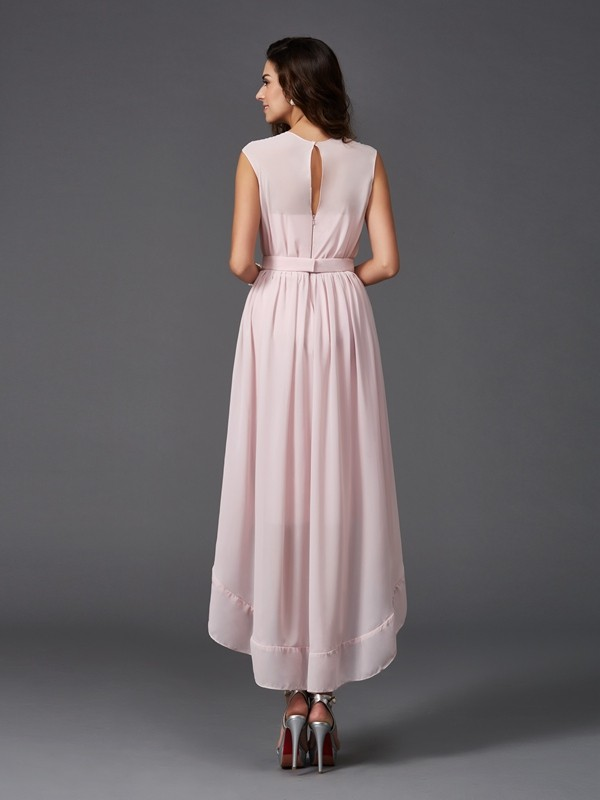 Nice A-Line Scoop Sleeveless High Low Chiffon Bridesmaid Dress