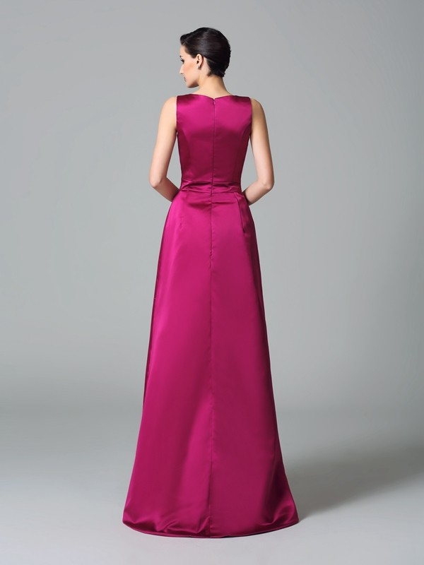 Nice A-Line Straps Sleeveless High Low Satin Bridesmaid Dress