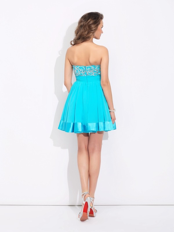 Nice A-Line Sweetheart Sleeveless Short Chiffon Dress