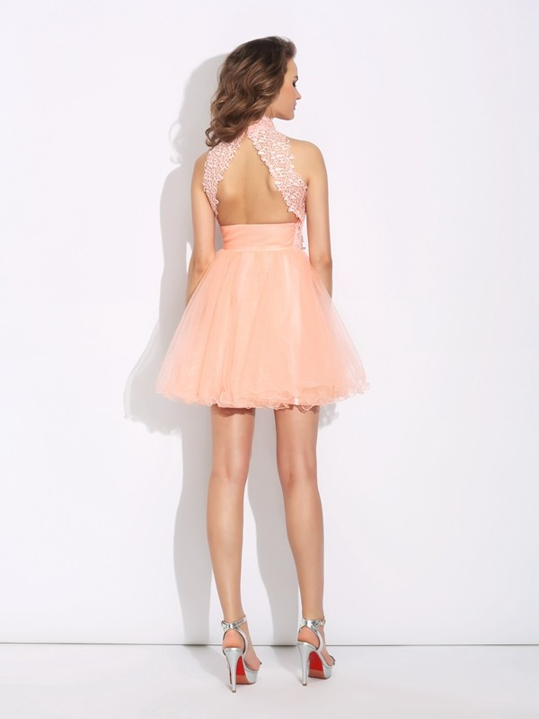 Nice A-Line High Neck Sleeveless Short Net Dress