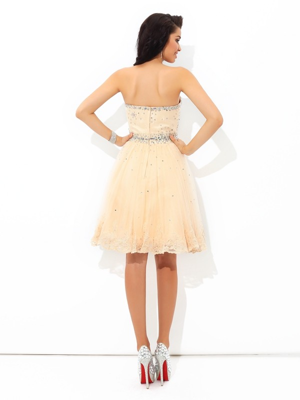 Amazing A-Line Sweetheart Sleeveless Short Satin Cocktail Dress